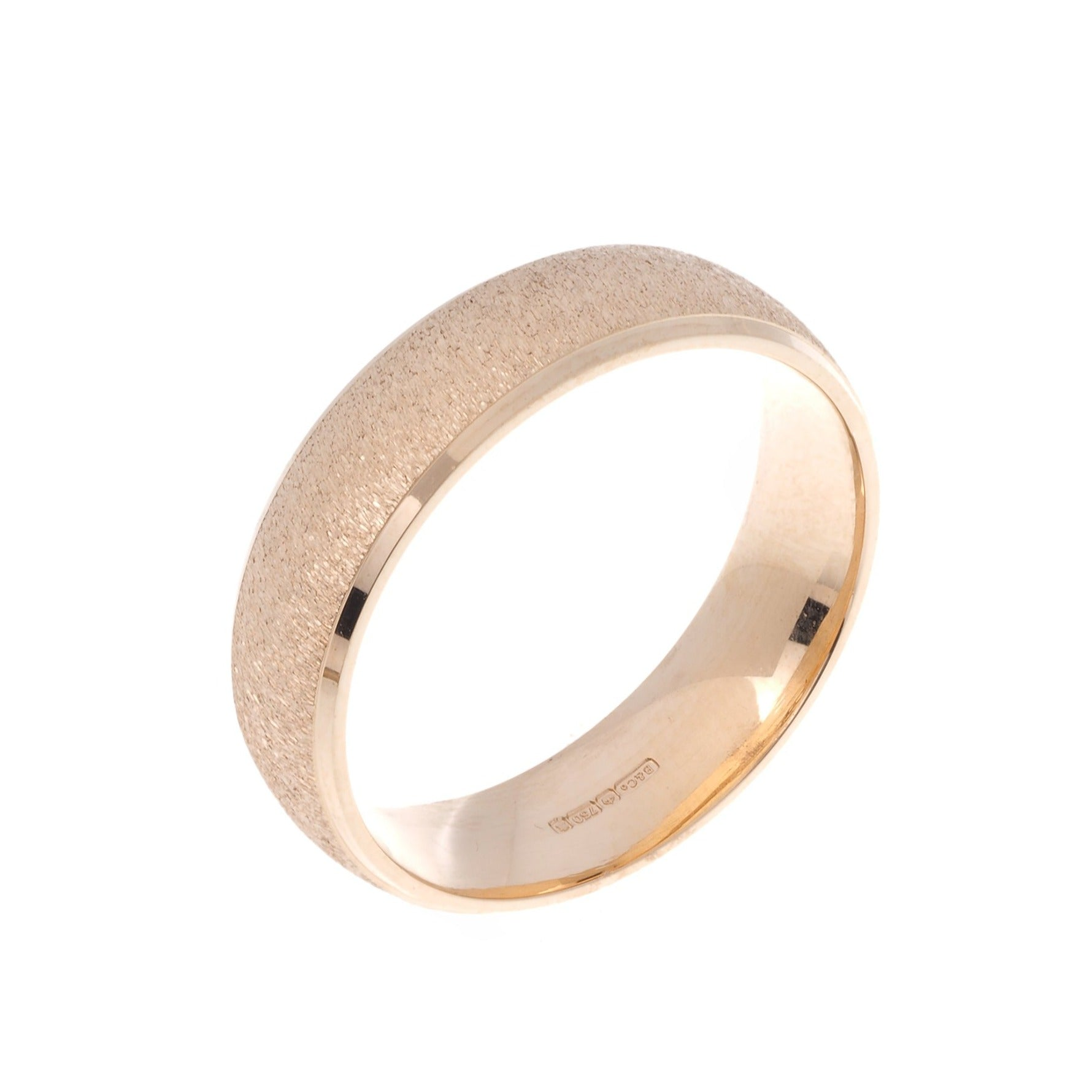 18ct 'Blush' Rose Gold Gents Flat Court Wedding Band with Diamond Cut Design R/WBUFHBlushDiaCut