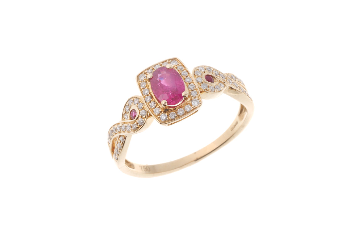18ct Yellow Gold Diamond and Ruby Dress Ring (SB00220R-Y-R)