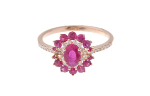 18ct Rose Gold Diamond and Ruby Dress Ring (SB00356R-R-R)