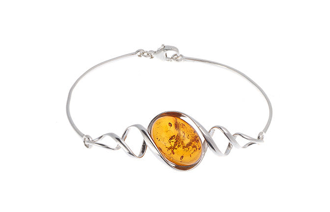 White Rhodium Plated Sterling Silver & Amber Bangle, Minar Jewellers