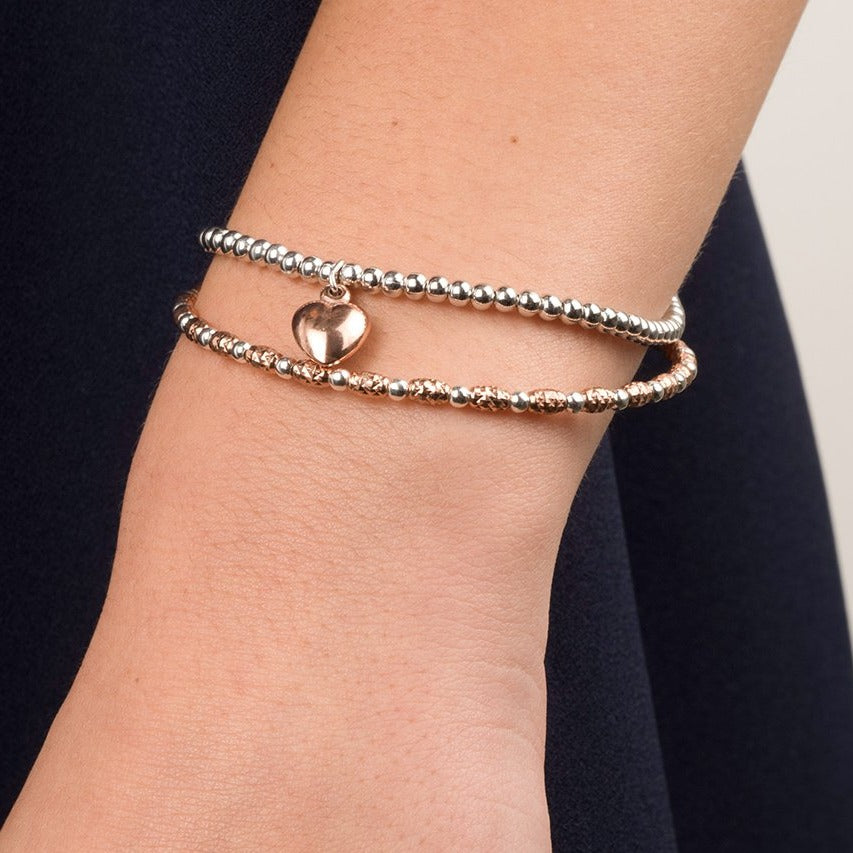 Sterling Silver Bracelet with Rose Gold Plated Heart Pendant 7.5""