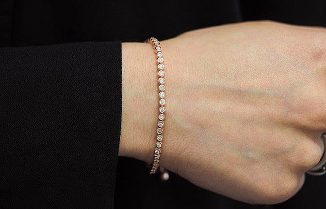 Adjustable Rose Gold Plated Sterling Silver & Cubic Zirconia Bracelet SBR005C