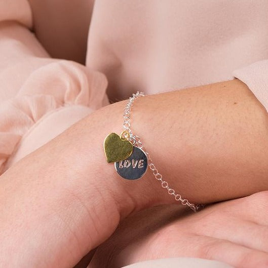 Sterling Silver Bracelet with Gold Plated Heart Charm and 'Love' Engraved Circle Charm SBR077A