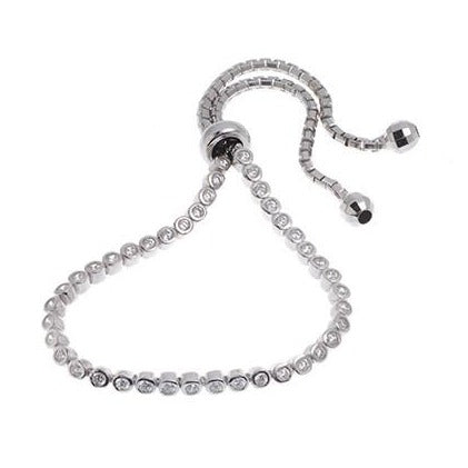 Adjustable White Rhodium Plated Sterling Silver & Cubic Zirconia Bracelet, Minar Jewellers
