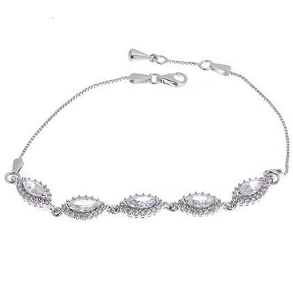 White Rhodium Plated Sterling Silver Bracelet with Cubic Zirconia Stones, Minar Jewellers