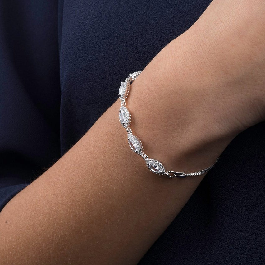 Rhodium Plated Sterling Silver Bracelet with Cubic Zirconia Stones SBR164a