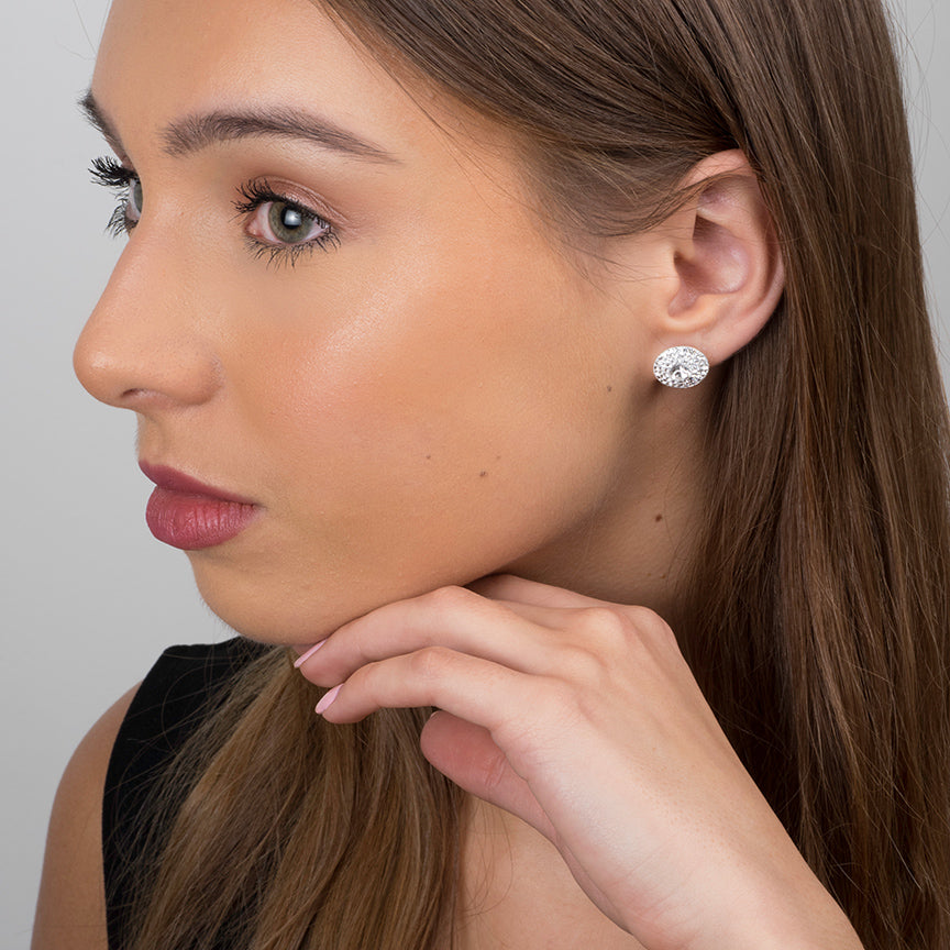Sterling Silver Fancy Clear Crystal Earrings SE220B