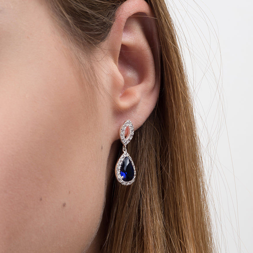Sterling Silver Teardrop Earrings with Cubic Zirconia and Blue Stones SE288A
