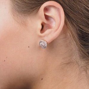 Rose Gold Plated Sterling Silver Cubic Zirconia Earrings SE348B