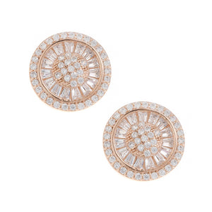 Rose Gold Plated Sterling Silver Cubic Zirconia Earrings, Minar Jewellers - 1