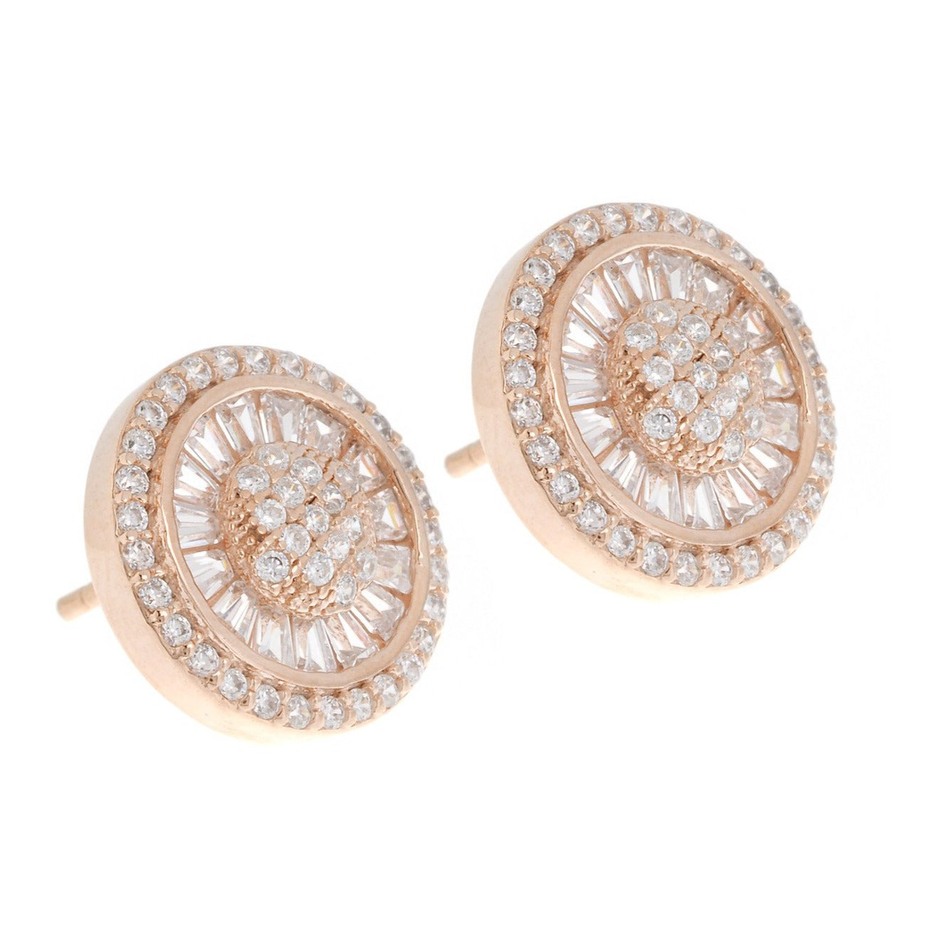 Rose Gold Plated Sterling Silver Cubic Zirconia Earrings, Minar Jewellers - 2