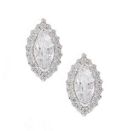 Rhodium Plated Sterling Silver Cubic Zirconia Earrings SE448B