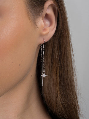 Sterling Silver Star Cubic Zirconia Drop Earrings SE485B