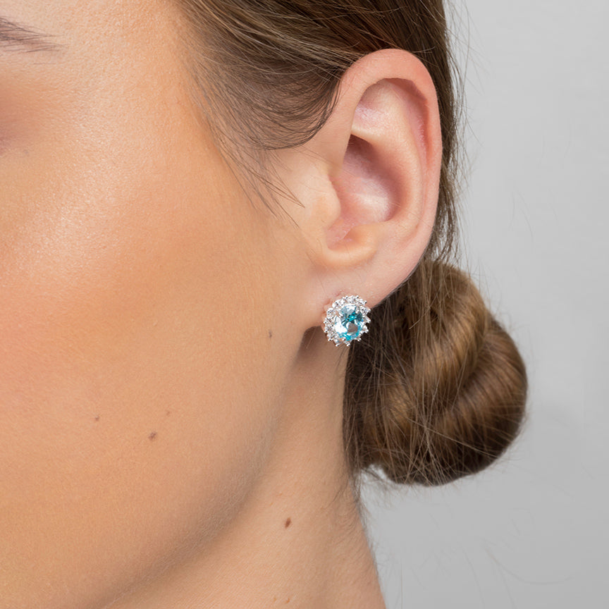 Sterling Silver Light Blue Cubic Zirconia Earrings SE498C