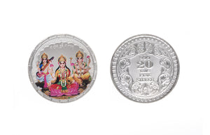 Sterling Silver Coin featuring Saraswati, Lakshmi and Ganesh (SLG20gcolour)