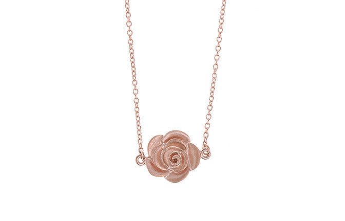 Rose Gold Plated Sterling Silver Rose Design Necklace, Minar Jewellers - 1