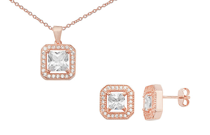 Rose Gold Plated Sterling Silver Cubic Zirconia Pendant SP032A