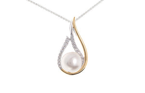 Gold Plated Sterling Silver, Cultured Pearl & Cubic Zirconia Pendant SP051A