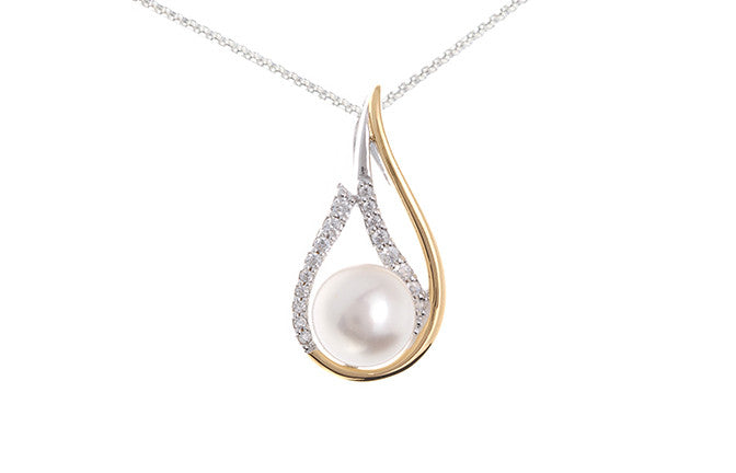 Gold Plated Sterling Silver, Cultured Pearl & Cubic Zirconia Pendant SP051A (online price only)