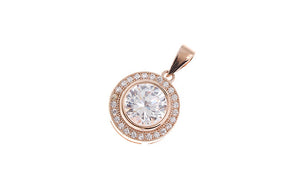 Rose Gold Plated Sterling Silver Cubic Zirconia Pendant SP148C