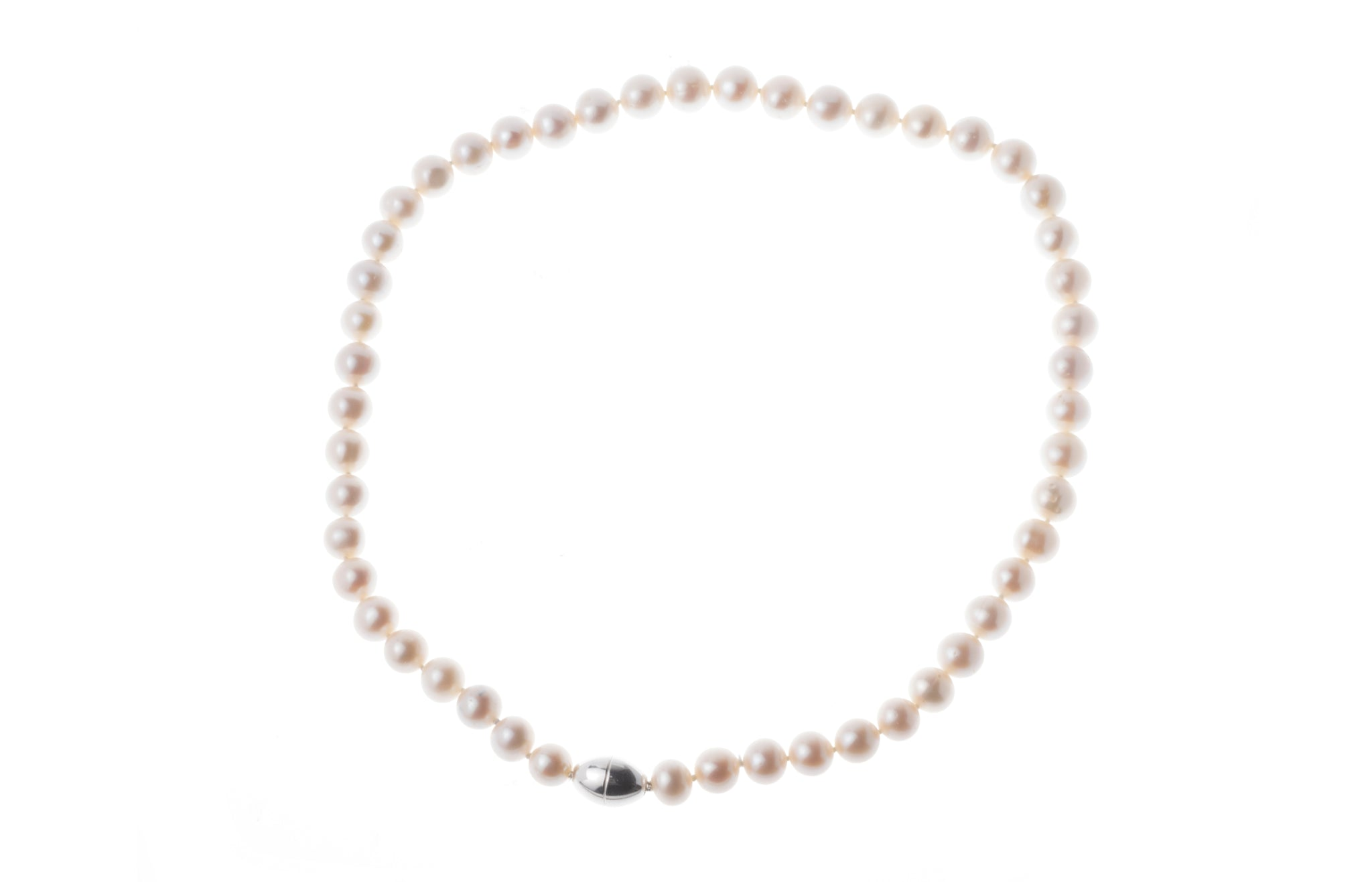 Cultured Pearl 8.5-9.5mm Necklace with Sterling Silver Magnetic Clasp SWZP8.5-9.5