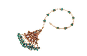 22ct Gold Rouge Look Tikka with Green CZ Stones & Cultured Pearls (T-5871)