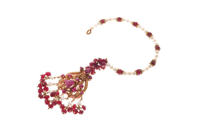 22ct Gold Rouge Look Tikka with Purple CZ Stones & Cultured Pearls (11.2g) T-5872