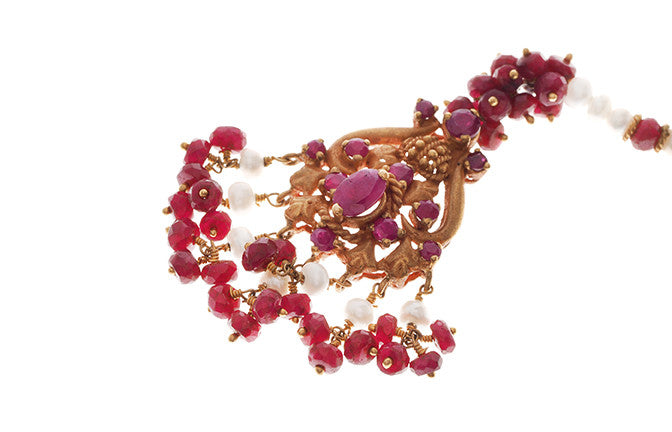 22ct Gold Rouge Look Tikka with Purple CZ Stones & Cultured Pearls (T-5872)