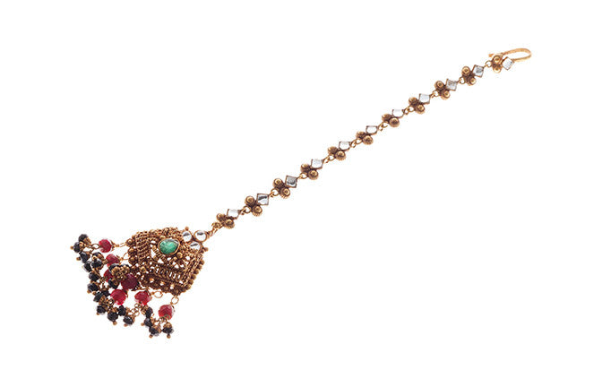22ct Gold Rouge Look Tikka with Coloured Stones & Cubic Zirconias (T-5874)