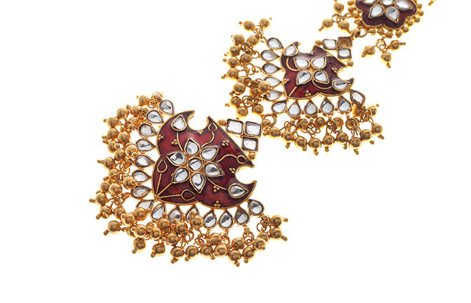 22ct Yellow Gold Antiquated Look Tikka with Cubic Zirconia Stones & Red Enamel Detail (T-5877)