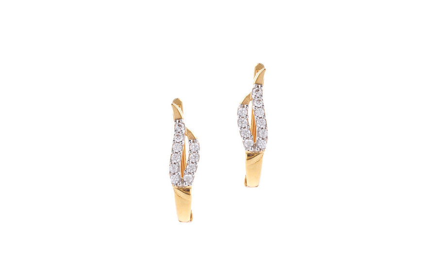 22ct Yellow Gold & Cubic Zirconia Hoop Earrings (3.45g) VBET032