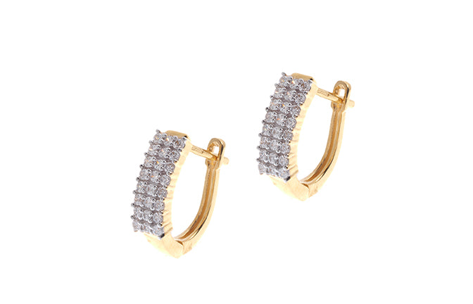 22ct Gold and Cubic Zirconia Hoop Earrings (VBET041)