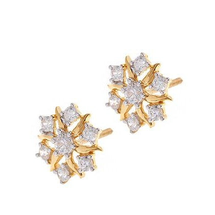 22ct Gold Cubic Zirconia Stud Earrings (3.29g) VET059
