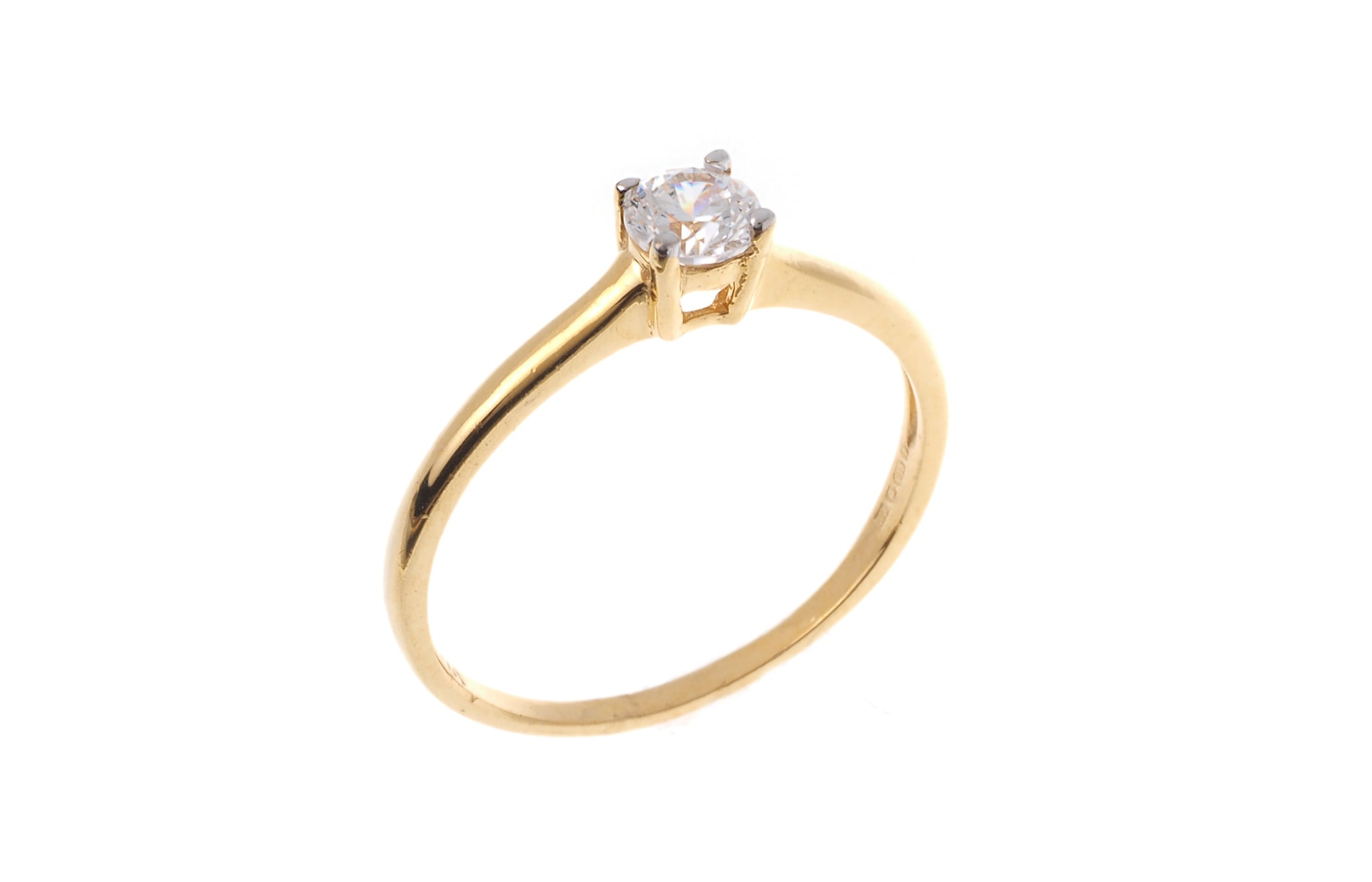 22ct Gold Cubic Zirconia Engagement Ring VLR002