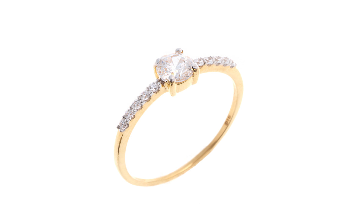22ct Yellow Gold Cubic Zirconia Engagement Ring (VLR023)