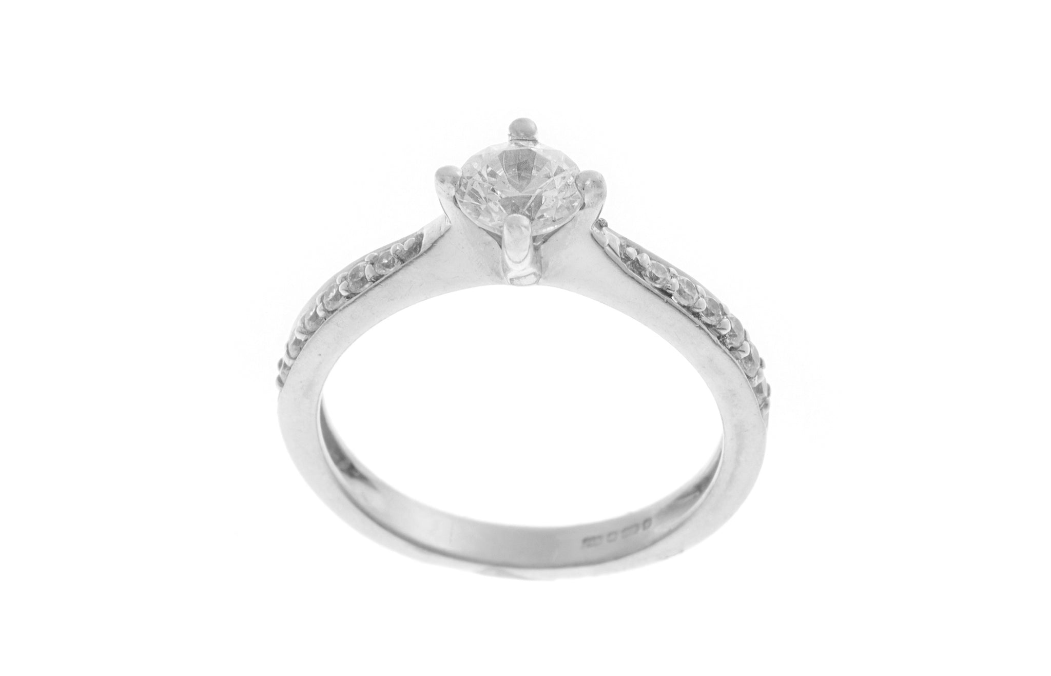 18ct White Gold Cubic Zirconia Engagement Ring VLR11129
