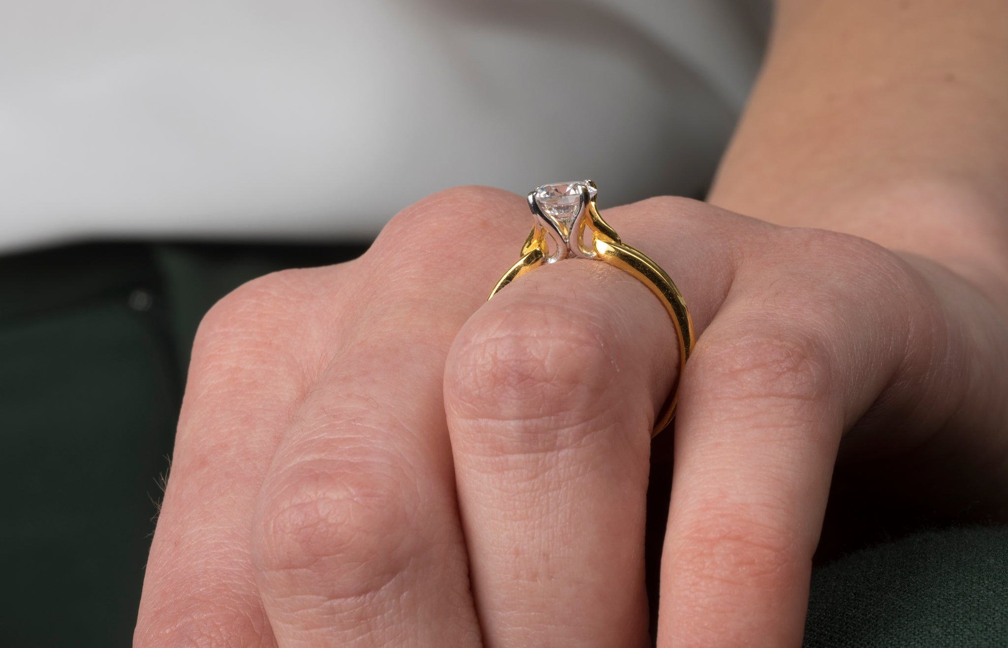 22ct Gold Cubic Zirconia Engagement Ring Set With A Swarovski Zirconia Minar Jewellers