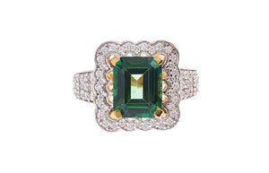 22ct Yellow Gold Cubic Zirconia Dress Ring with Green CZ Centre Stone (VLR334)