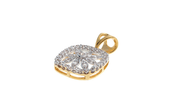 22ct Yellow Gold Cubic Zirconia Fancy Pendant (VP003)