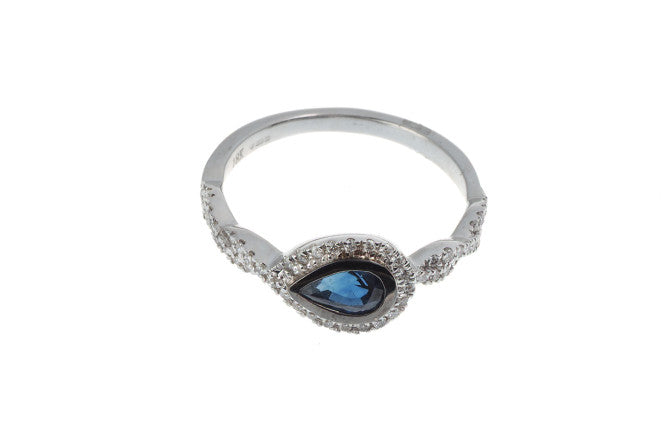 18ct White Gold Blue Sapphire & Diamond Dress Ring, Minar Jewellers - 4