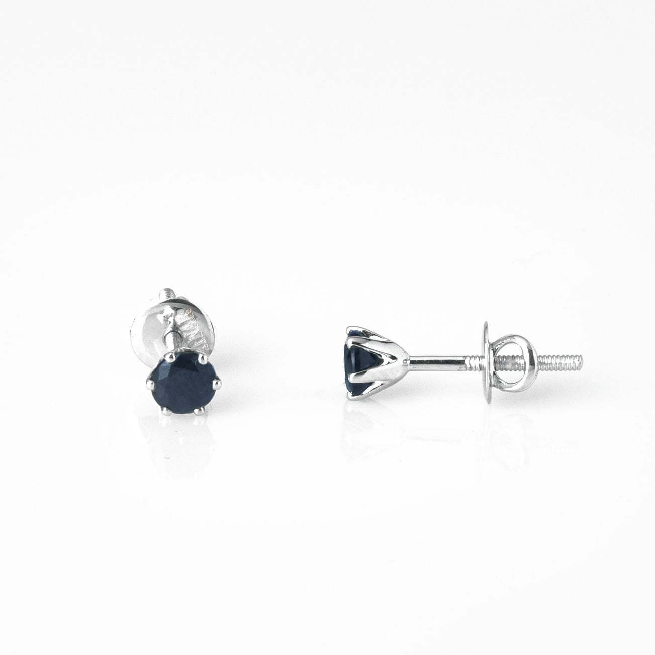 18ct White Gold 0.81ct Round Brilliant Cut Sapphire Stud Earrings (MCS3124)
