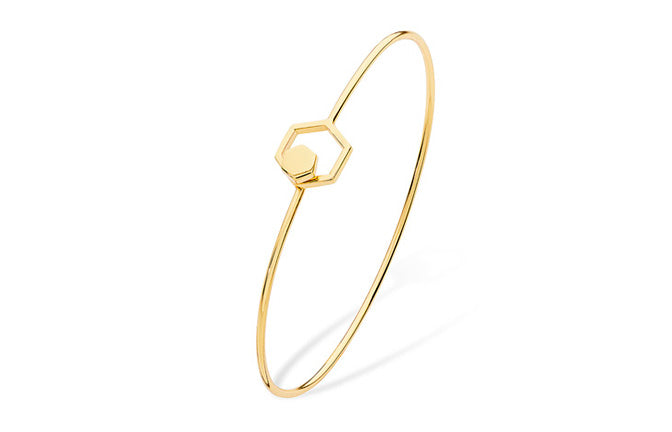 Gold Plated Sterling Silver Double Hexagon Openable Bangle SBA011C
