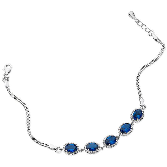 Rhodium Plated Sterling Silver Bracelet with Blue Stones SBR055b