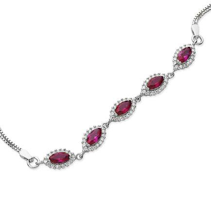 Rhodium Plated Sterling Silver Bracelet with Pink Stones SBR075A