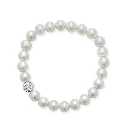 Children's Stretchy Pearl Bracelet with one crystal ball SBR088A