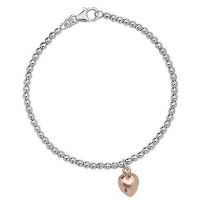 "Sterling Silver Bracelet with Rose Gold Plated Heart Pendant 7.5"" SBR107B"