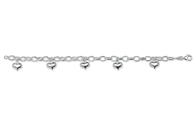 Sterling Silver Bracelet with Heart Charms SBR128B