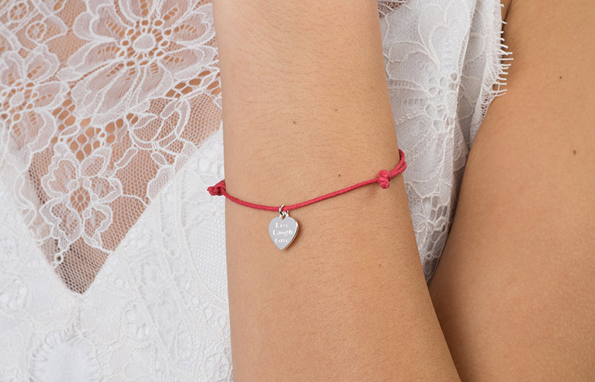 Adjustable Pink Cord Bracelet with Sterling Silver Heart Charm Engraved with 'Live, Laugh, Love' SBR162A