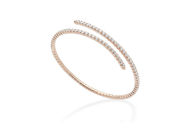 Sterling Silver Rose Gold Plated Cubic Zirconia Bracelet SBR213A