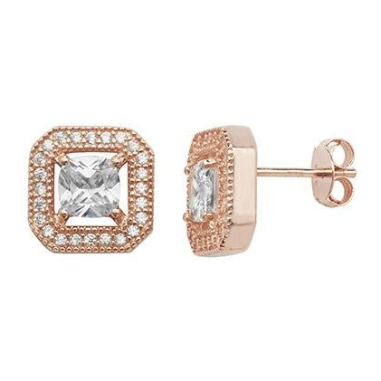 Rose Gold Plated Sterling Silver & Cubic Zirconia Earrings SE023B